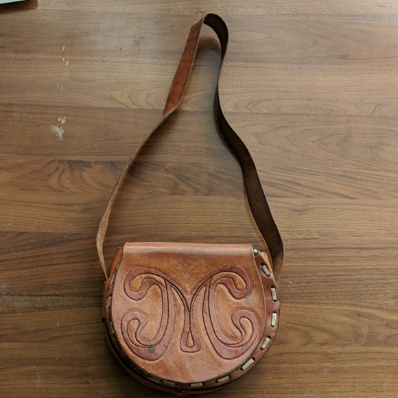 Vintage Handbags - 70sVINTAGE Handmade leather M purse